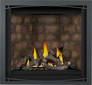 Image of Napoleon Altitude X gas fireplace shown with Oak log set, Newport brick panels, Charcoal Zen front AX36NTE
