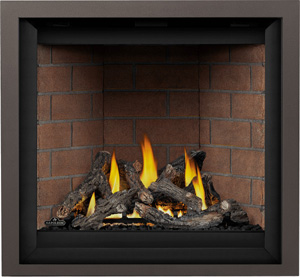 Image of Napoelon Altitude X AX36NTE direct vent gas fireplace shown with Oak log set, Old Town Red brick panels, Copper Finish Trimshown with Oak log set, Old Town Red brick panels, Copper Finish Trim