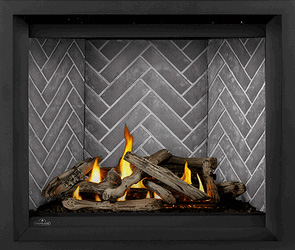 Image of Napoleon Altitude X shown with Driftwood log set, Westminster Grey Herringbone brick panels, and Black Finish Trim