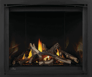 Image of Napoleon Altitude X shown with Split Oak log set, Mirro-Flame Porcelain Radiant Reflective panels, and Black Zen Front