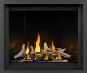 Image of Napoleon Altitude X shown with Birch log set, Mirro-Flame Porcelain Radiant Reflective panels, and Charcoal Finish Trim
