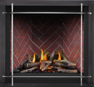 Image of Napoleon Altitude X shown with Maple log set, Old Town Red Herringbone brick panels, Denali front with Satin Nickel Straight Iron Elements