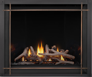 Image of Napoleon Altitude X shown with Maple log set, Mirro-Flame Porcelain Radiant Reflective panels, Denali front with Burnished Brass Straight Iron Elements