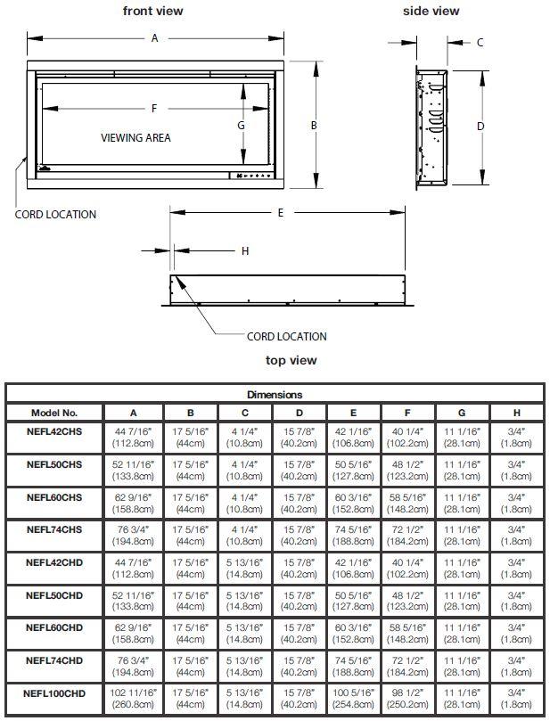Napoleon Alluravision Electric Fireplace Dimensions