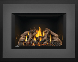 Photo 3: Oakville GDIX4 shown with MIRRO-FLAME Porcelain Radiant Reflective Panels, Large 4-Sided Faceplate Charcoal, Large 4-Sided Backerplate