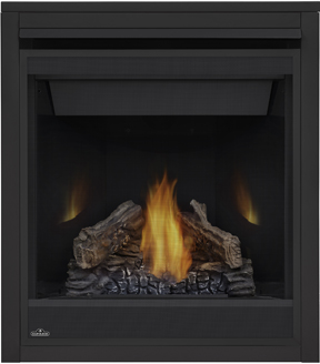 Napoleon Ascent 30 B30 shown with MIRRO-FLAME™ Porcelain Reflective Radiant Panels, PHAZER® Logs