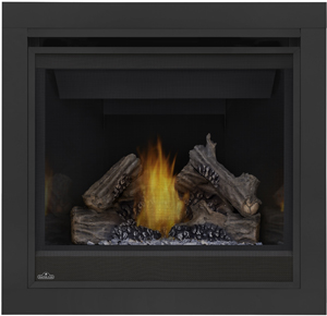 Napoleon B36 Ascent 36 shown with MIRRO-FLAME™ Porcelain Reflective Radiant Panels, 3-inch Trim Kit, PHAZER® Logs