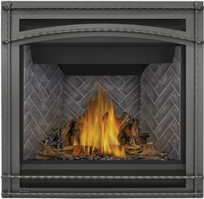 Napoleon Ascent GX36-1 shown with PHAZER® Log Set, Westminster Herringbone Decorative Brick Panels, Wrought Iron Front