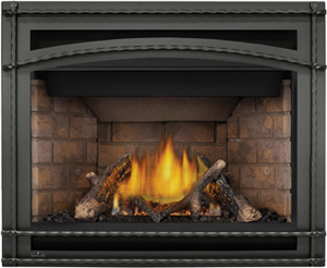 Napoleon Ascent X-42 GX42 shown with Newport™ Brick Panels, Premium Split Oak Logs, Wrought Iron Front