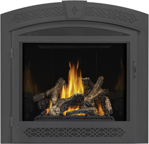 Napoleon Ascent X 70 GX70 shown with MIRRO-FLAME™ Porcelain Radiant Reflective Panels, Arched Surround with Operable Screen, PHAZER Logs