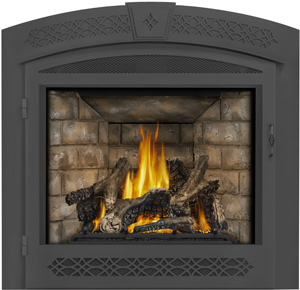 Napoleon Ascent X 70 GX70 shown with Newport™ Panels, Arched Surround with Operable Screen, PHAZER Logs