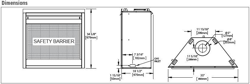 Napoleon Ascent X 70 GX70 Dimensions Diagram