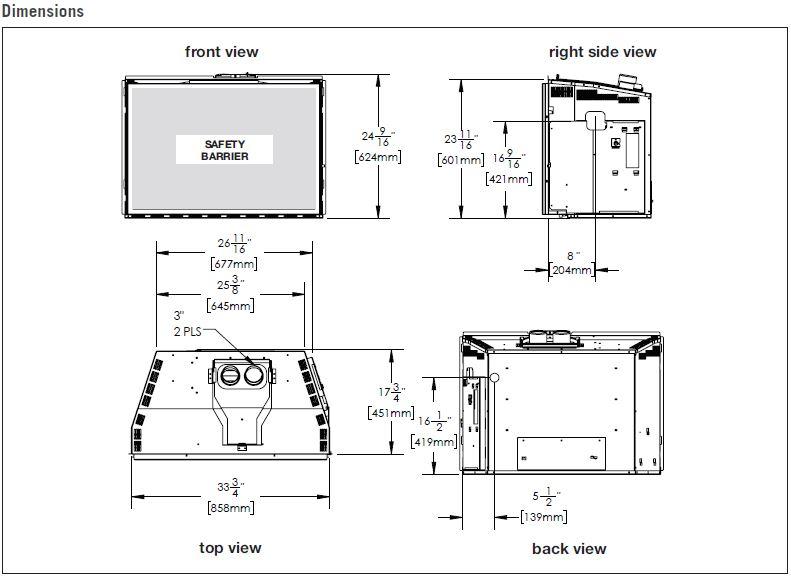 Napoleon GDIX4 Gas Insert Dimension Diagrams