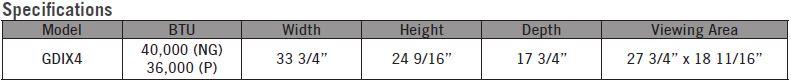 Napoelon GDIX4 Gas Insert Specifications: 40,000 BTU NG, 36,000 BTU LP, 33-3/4