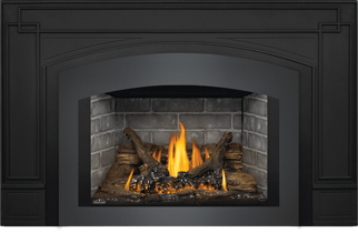 Photo 7: Oakville GDI3 shown with Westminster Brick Panels, Small Arched Faceplate Charcoal, Cast Iron Surround