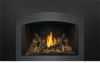 Photo 3: Oakville GDI3 shown with MIRRO-FLAME Porcelain Radiant Reflective Panels, Small Arched Faceplate Charcoal, Medium Backerplate