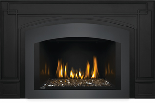 Photo 4: Oakville Glass 3 shown with Small Arched Faceplate Charcoal, Black Cast Iron Surround