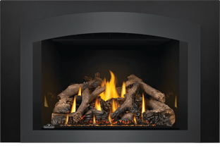 Photo 4: Oakville GDIX4 shown with MIRRO-FLAME Porcelain Radiant Reflective Panels, Small Arched Faceplate Charcoal, Medium 3-Sided Backerplate