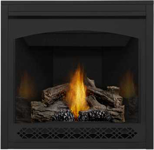 Napoleon Ascent 35 B35 shown with MIRRO-FLAME™ Porcelain Reflective Radiant Panels, Heritage Front, PHAZER® Logs