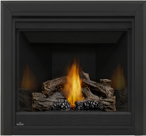 Napoleon Ascent 35 B35 shown with MIRRO-FLAME™ Porcelain Reflective Radiant Panels, 3-inch Beveled Trim, PHAZER® Logs