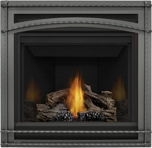 Napoleon Ascent 35 B35 shown with MIRRO-FLAME™ Porcelain Reflective Radiant Panels, Wrought Iron Surround, PHAZER® Logs