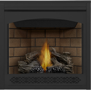 Napoleon Ascent 35 B35 shown with Sandstone Brick Panels, Heritage Front, PHAZER® Logs