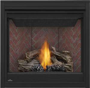 Napoleon Ascent 35 B35 shown with Old Town Red Herringbone Brick Panels, PHAZER® Logs