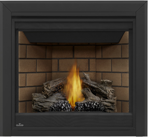 Napoleon Ascent 35 B35 shown with Sandstone Brick Panels, 3-inch Beveled Trim, PHAZER® Logs