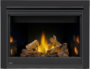 Napoleon Ascent 42 B42 shown with MIRRO-FLAME Porcelain Radiant Reflective Panels, 3-inch Trim Kit, PHAZER Logs