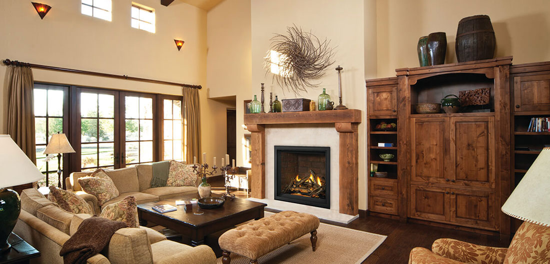 Napoleon Elevation X Series gas fireplace in living room setting. The EX36NTEL is a direct vent gas fireplace shown here with driftwood log set, porcelain radiant reflective panels, and black finish trim