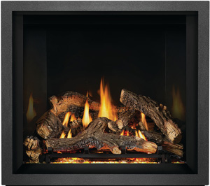 Napoleon Elevation X EX36 shown with Split Oak Logs, MIRRO-FLAME™ Porcelain Reflective Radiant Panels, Charcoal Finish Trim