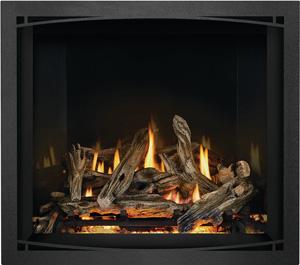 Napoleon Elevation X EX36 shown with Driftwood Logs, MIRRO-FLAME™ Porcelain Reflective Radiant Panels, Black Zen Front