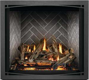 Napoleon Elevation X EX36 shown with Driftwood Logs, Westminster Grey Herringbone Brick Panels, Charcoal Zen Front