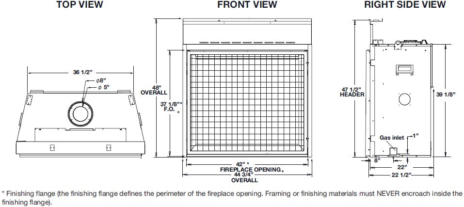 Napoleon Elevation EX42 Dimension Diagram