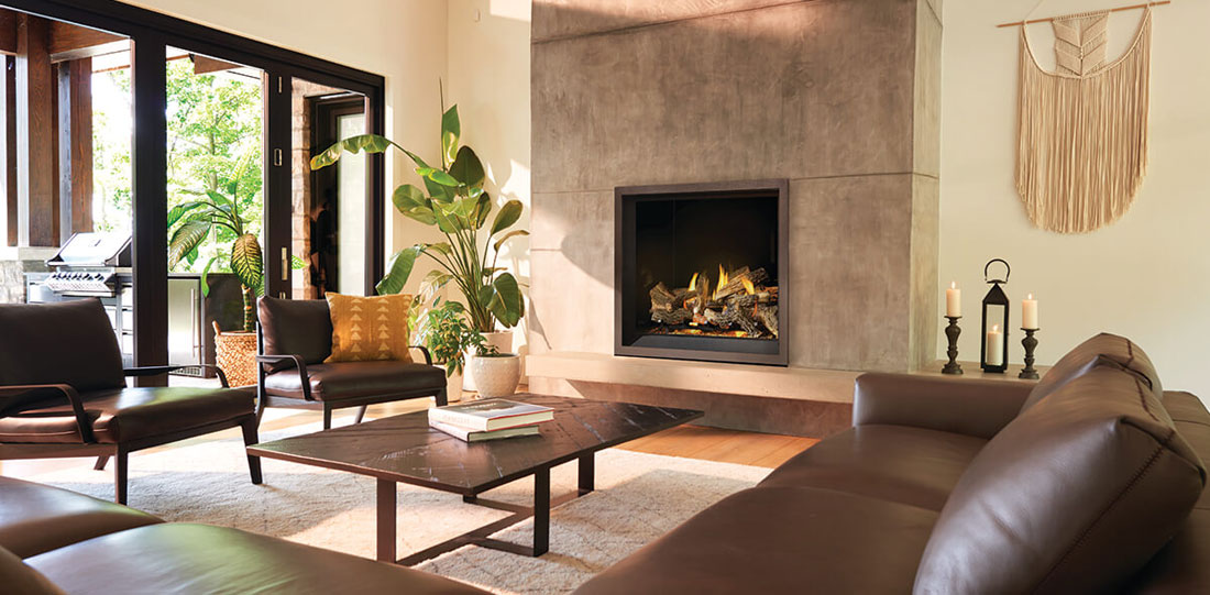 Napoleon Elevation X Series gas fireplace in living room setting. The EX42NTEL is a direct vent gas fireplace shown here with split oak log set, porcelain radiant reflective panels, and charcoal finish trim
