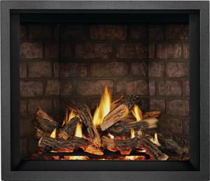 Napoleon Elevation X gas fireplace EX42 shown with Split Oak Logs, Newport Brick Panels, Charcoal Finish Trim