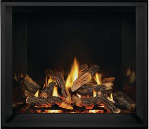 Napoleon Elevation X gas fireplace EX42 shown with Split Oak Logs, MIRRO-FLAME™ Porcelain Reflective Radiant Panels