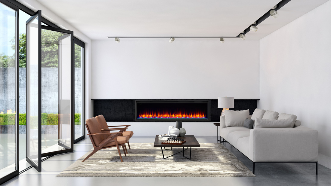 Image of Majestic Allusion Platinum Electric Fireplace shown in living room