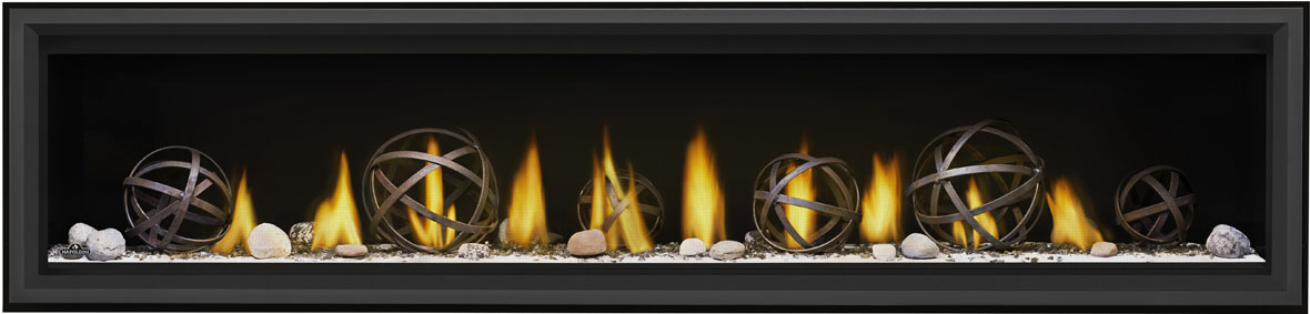 Image of Napoleon Vector LV74 with Wrought Iron Globes, Shore Fire Kit, and Black Premium Safety Barrier