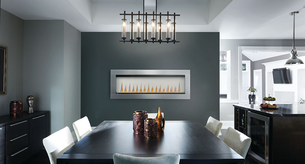 Image of Napoleon CLEARion Elite shown in dining room with opaque setting