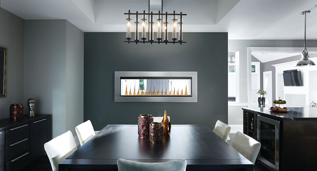 Image of Napoleon CLEARion Elite shown in dining room with see through setting