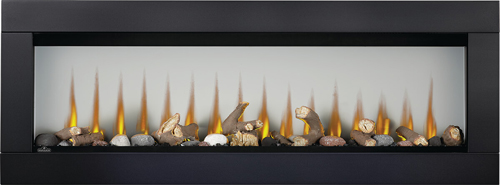 Image of Napoleon CLEARion Elite shown with Black Surround, Log Media Set with Topaz Glass Embers, Orange Flame, Opaque mode