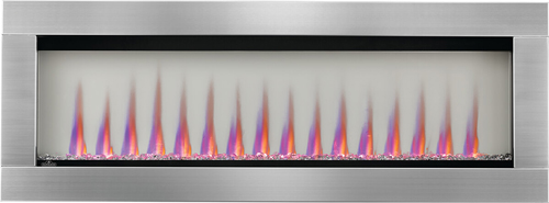 Image of Napoleon CLEARion Elite shown with Stainless Steel Surround, Crystal Media, Multi-Color Flame, Opaque mode