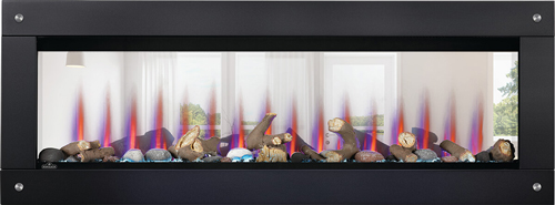 Image of Napoleon CLEARion Elite shown with Black Surround with Magnets, Log Media Set with Topaz Glass Embers, Multi-Color Flame, See Through mode