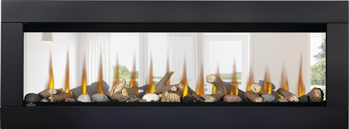 Image of Napoleon CLEARion Elite shown with Black Surround, Log Media Set with Topaz Glass Embers, Orange Flame, See Through mode