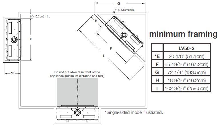 Locations diagram for Napoleon Vector 50 LV50N-2 LV50N2-2