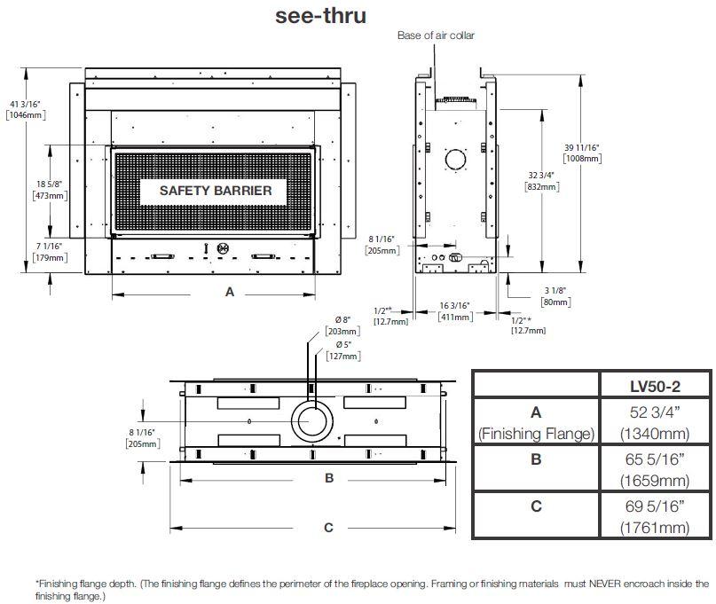 Dimensions diagram for Napoleon Vector 50 LV50N2-2