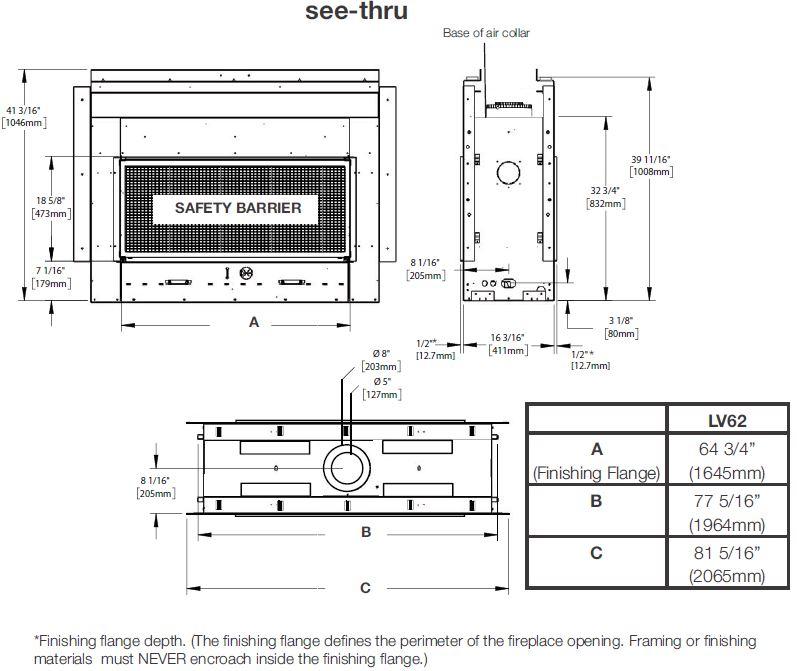 Dimensions diagram for Napoleon Vector 62 LV62N2