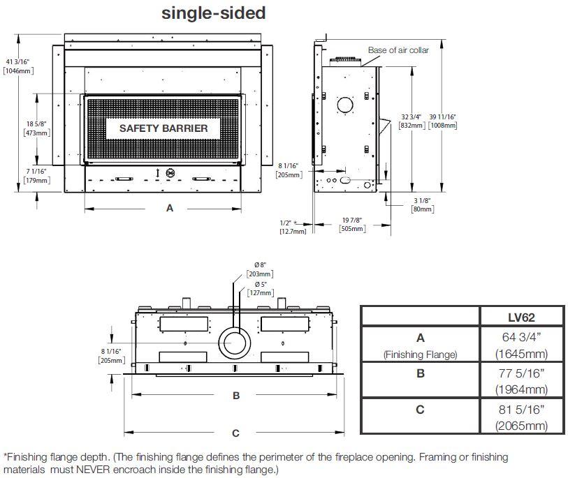 Dimensions diagram for Napoleon Vector 62 LV62N