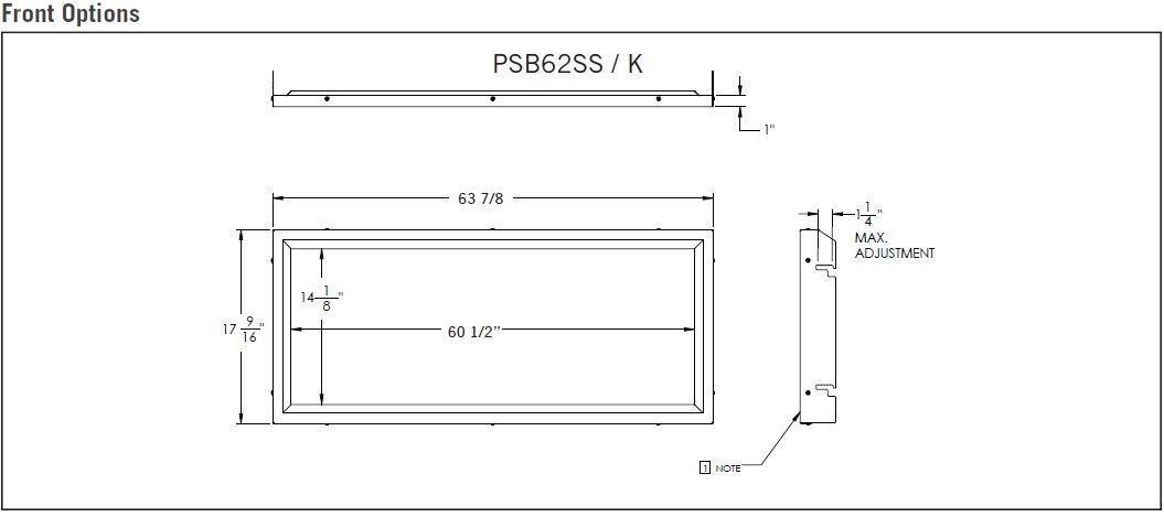 Front dimensions diagram for Napoleon Vector 62 LV62N LV62N2